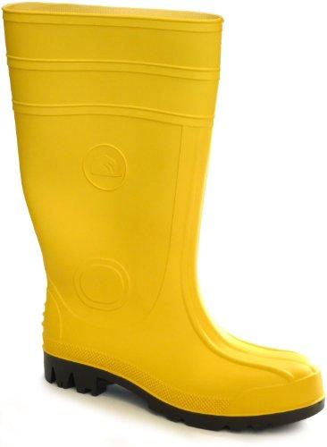 Feldtmann Gummistiefel Klasse S5 aus PVC mit Stahlkappe und Stahlzwischensohle (Größe 42, Gelb) durchtrittsicher wasserabweisend rutschhemmend & antistatisch EN ISO 20345 Sicherheitstiefel Baustiefel