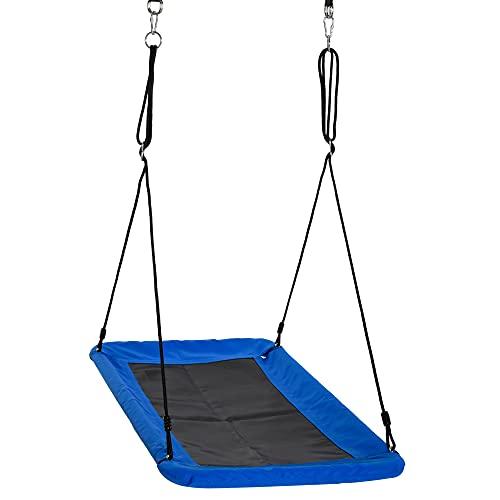 Outsunny Columpio para Niños de Jardín Nido Rectangular hasta 150 kg +3 Años con Cuerdas Ajustables Tela Oxford 900D y Metal 150x80x180 cm Azul