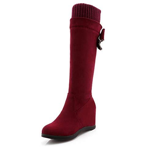 WUSIKY Stiefeletten Damen Bootsschuhe Boots Geschenk für Frauen Flock Wedges erhöhen Freizeitschuhe Round Toe Overknee Long Boots (Rot, 36 EU)