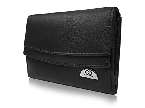 Quenchy London QL441 Damen Geldbörse, Leder, RFID-Blockierung, 13 cm Schwarz Schwarz nicht RFID Größe S