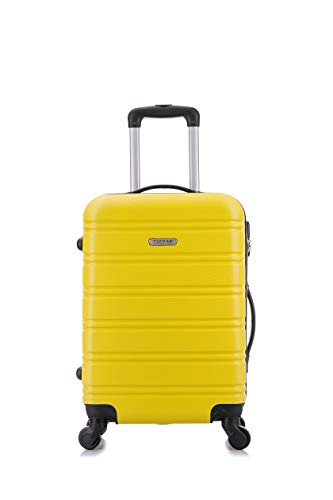 Flymax Cabin Luggage 4 Wheel Suitcase Lightweight Carry on 55x35x20 Approved for Flybe Ryanair Easyjet British Airways Yellow