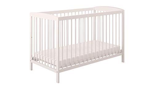 Polini Kids Babybett Gitterbett Simple 101 120 x 60 cm Massivholz weiß, 3022-04