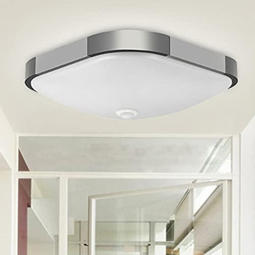 Lámpara de techo LED con detector de movimiento, regulable con mando a distancia, IP54, resistente al agua, lámpara de diseño cuadrada para pasillo, baño, sótano, garaje, techo, lámpara colgante