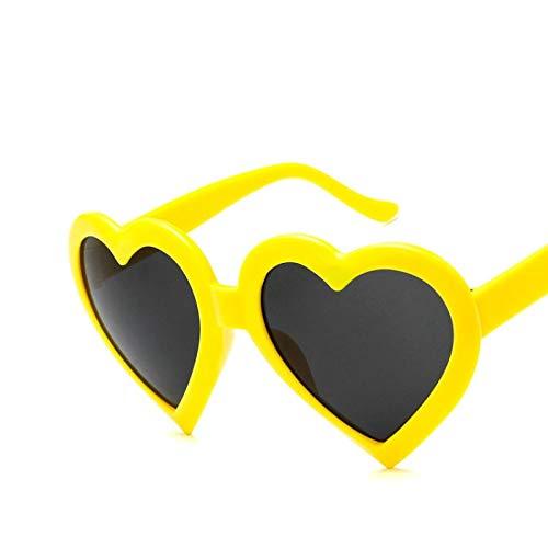 ShSnnwrl Gafas De Moda Gafas De Sol Corazón Mujeres Gafas De Sol Moda Amor Rosa Negro Señoras Gafas De Sol Mujer Uv400 C4Yellow