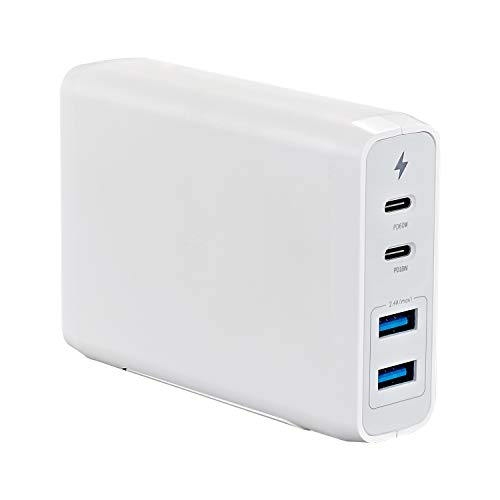 USB C Wall Charger 4-Port, with 60W & 18W USB C PD Power Delivery Adapter and 2 USB A Ports (12W)