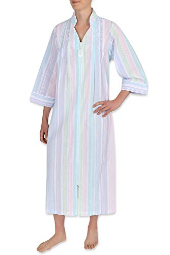 Miss Elaine Women's Long Seersucker Zipper Robe - with ¾ Sleeves, Round Yoke, and Two Inset Pockets (Small, Wide Multi Stripe)