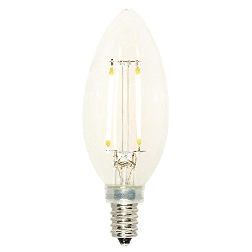 Westinghouse 5059100 Bombilla LED de filamento regulable B11 equivalente a 25 W con base de candelabro, transparente