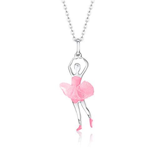 Unicornj Adolescenti per bambini in argento sterling 925 ballerina ballerina pendente collana tutu in tulle rosa chiaro e smalto rosa chiaro 16'Italia