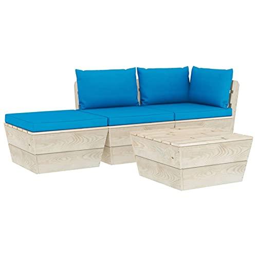 Tidyard Muebles de Jardín de Palets 4 pzas y Cojines Beige Claro Sofa Palets Exterior con Mesa de Centro Sofás de Exterior Jardín Patio Madera de Abeto