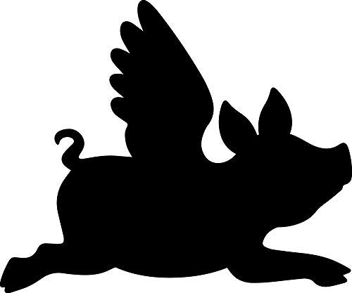 YWS Flying Pig Silhouette Vinyl Decal Stickers Laptop Car Window Bumper Cup Door Wall Decoration SMA0587