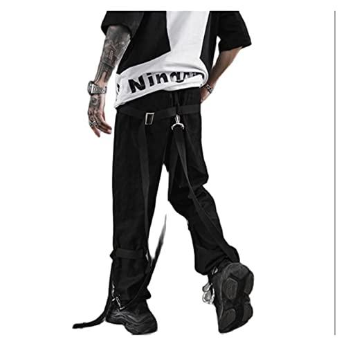 DOUYUAN Pantalón Cargo de Punk Pant Cinta de Hombre Patchwork Hip Hop Sweach Sweachs Harem Pants Hombre Harajuku Punk Rock Pantalones Pantalones Largos (Color : Black, Size : M)