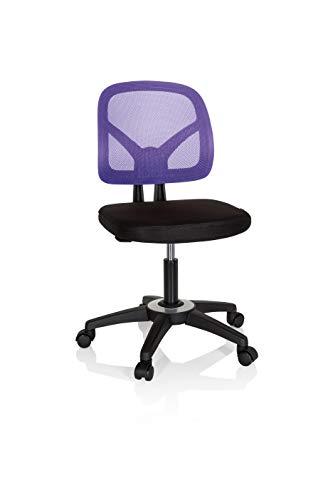 hjh OFFICE 736409 Kinder- und Jugenddrehstuhl Kid YU 100 Netzstoff Schwarz/Lila Kinder Schreibtischstuhl höhenverstellbar