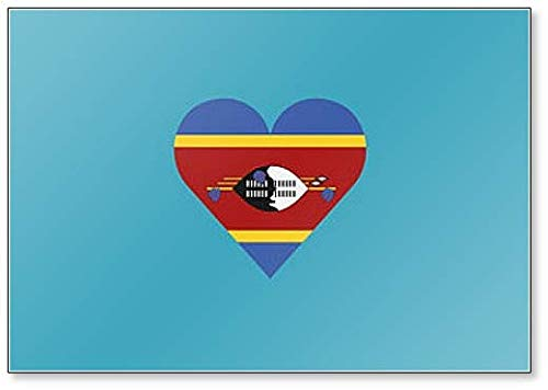 Swasiland Flagge in Herzform Illustration Klassischer Kühlschrankmagnet