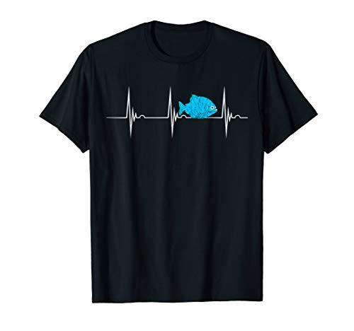 Piranha Fisch Herzschlag EKG Puls Sägesalmler T-Shirt