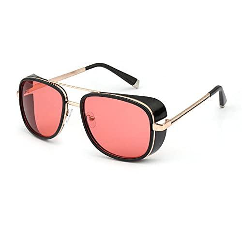 WQZYY&ASDCD Gafas de Sol Gafas De Sol para Hombre Gafas De Sol Gafas De Sol De Espejo Punk Retro Hombres Steampunk Uv400-Red