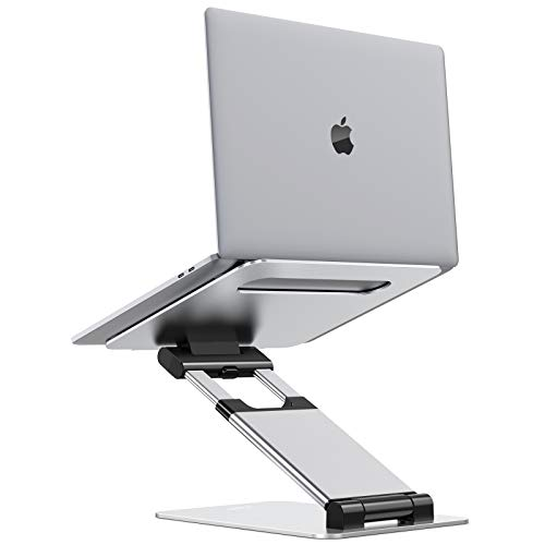 Nulaxy Laptop Stand, Ergonomic Sit to Stand Laptop Holder Convertor, Adjustable Height from 2.1' to 13.8', Supports up to 22lbs, Compatible with MacBook, All Laptops Tablets 11-17' - Silver