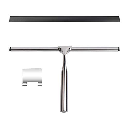 GLAITC Rasqueta de ducha de acero inoxidable con soporte de gancho adhesivo, limpiaparabrisas, raspador de ventanas, limpiacristales para baño, espejo, raspador de ventana, coche