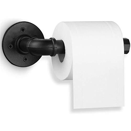 CHAOQUN Portarollos para Papel Higiénico Estilo de Tubo de Hierro Industrial Colgador de Papel Higiénico Montado en la Pared Negro