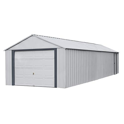 Arrow Shed 14' x 31' Murryhill Garage Galvanized Steel Extra Tall Walls Prefabricated Shed Storage Building, Flute Gray