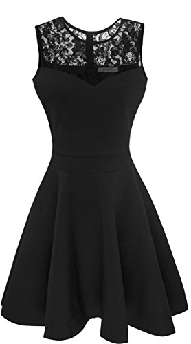 Sylvestidoso Women's A-Line Sleeveless Pleated Little Black Cocktail Party Dress with Floral Lace (M, Black)