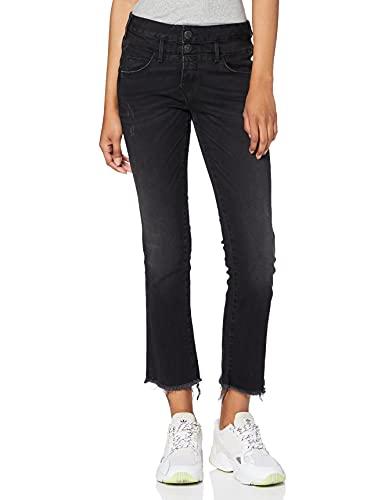 Herrlicher Damen Baby Cropped Bootcut Jeans, Schwarz (Coal Black 825), W28 (Herstellergröße: 28)