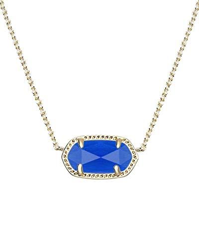 Kendra Scott Elisa Short Pendant Necklace for Women, Dainty Fashion Jewelry, 14k Gold-Plated Brass, Cobalt Cats Eye