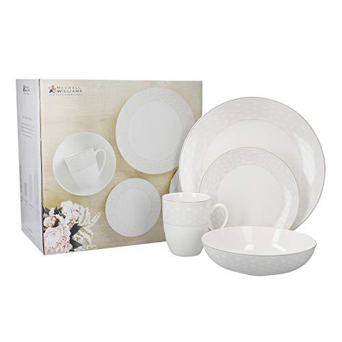 Maxwell & Williams Harlequin Vajilla de 16 piezas, Porcelana, gris, blanco