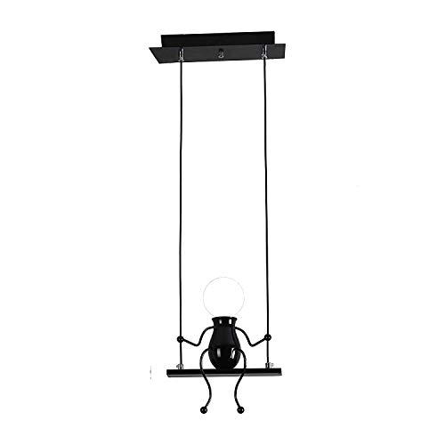 Pendelleuchte LED Pendellampe E27 Eisen Kleine Menschen Cartoon Design Hängeleuchte Kronleuchter geeignet für Kinderzimmer,Wohzimmer, Treppe, Schlafzimmer, Deckenleuchte Hängelampe Schwarz