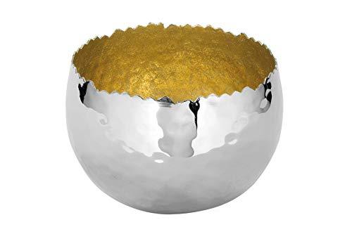 Fink Schale Sefa - Eisen vernickelt gehämmert innen Gold-farbig D 12,5 cm