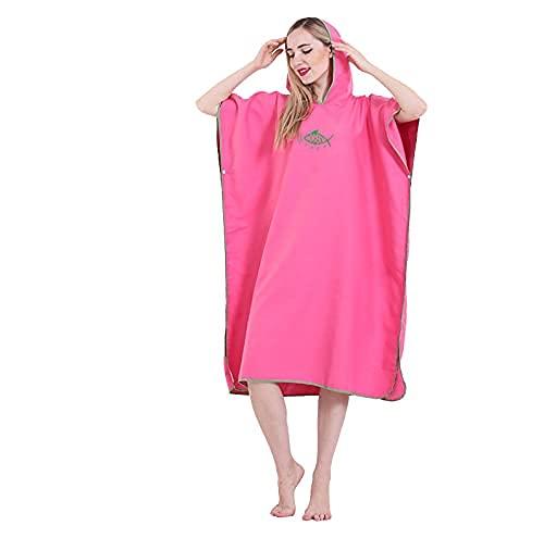 Toallas de natación Roba seca Roberas Cambio de toalla Poncho con capucha con capucha Seco rápido Driso de toalla liviana para surfear Playa Natación Se adapta a adultos hombres mujeres (Rose Red) che