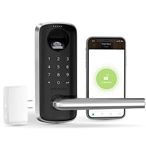 ULTRALOQ Lever, Smart Lock, Keyless Entry Door Lock, Door Locks with Keypads and Voice Guide, Biometric Fingerprint Door Lock for Front Door, Bedroom and Office (WiFi Bridge Included)