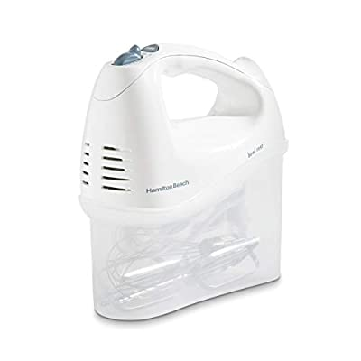 Hamilton Beach 6-Speed Electric Hand Mixer, Beaters and Whisk, with Snap-On Storage Case, White by Hamilton Beach