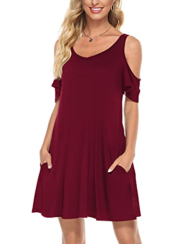 Florboom Skaterkleid Damen Kurzarm Tunika Kleider Schulterfreie Sexy Kleid V Ausschnitt Weinrot L