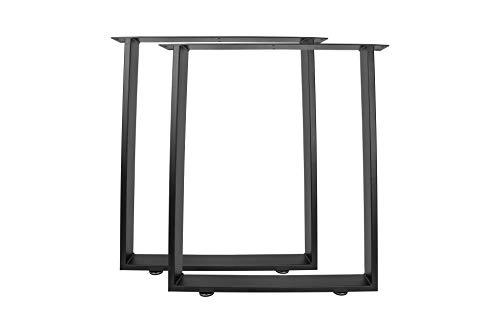 X T Tischbeine Tischkufen Stahl Tischgestell Industriedesign Tischuntergestell metall, Ausführung:Trapez 720x600mm