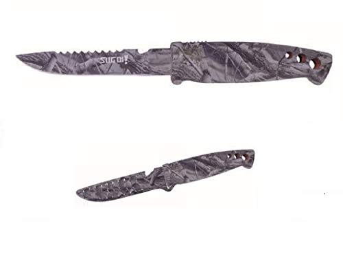 Sugoi Cuchillo de camuflaje, ideal para la pesca, la caza y el campamento, totalmente camuflaje, también la hoja es de camuflaje