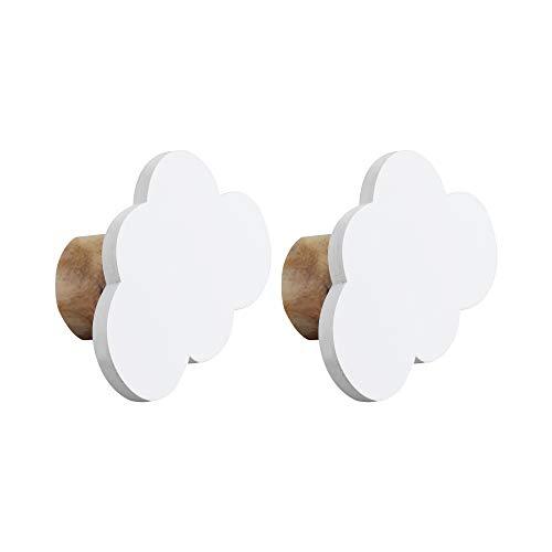 NIKKY HOME 2 Piezas Gancho de Madera para habitación Infantil Colgante Decoración de Pared Nube Patrón Blanco