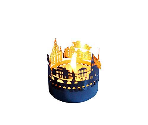 13gramm Dresden-Skyline Windlicht Schattenspiel Souvenir, 3D Edelstahl Aufsatz für Kerze inkl. Karte