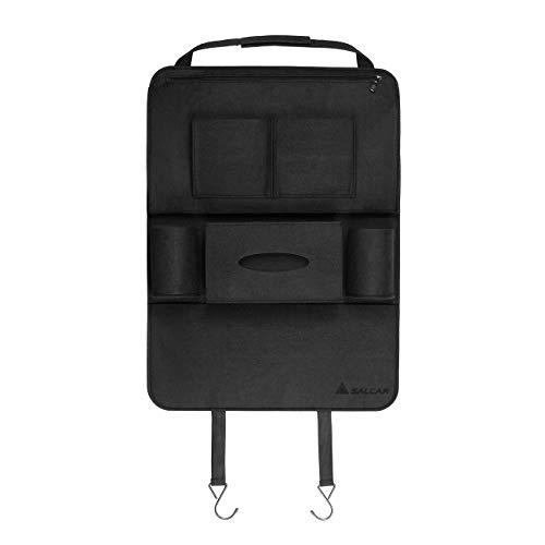 Salcar - Voiture Siège arrière Organisateur auto multi-pocket sacs de rangement en feutre en forme de sièges d'auto permettant le stockage des boîtes et pour ipads .CD, etc - Noir