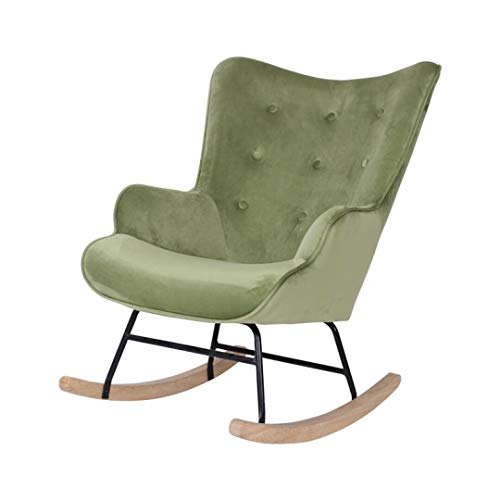 Fauteuil Rocking - Groen - Schommelstoel - 92 x 100 x 68 - Velvet