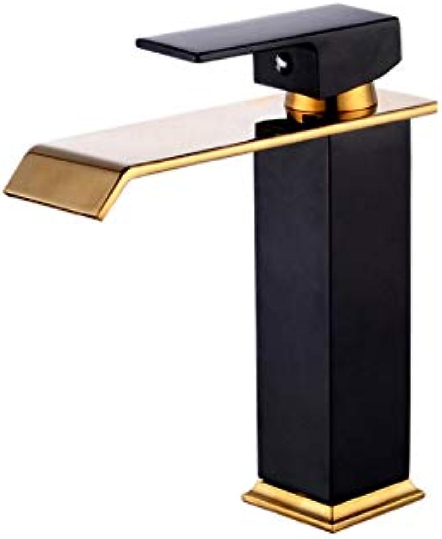 Lddpl Goldene Schwarze Wasserfall Wasserhahn Messing Bad Wasserhahn Bad Becken Wasserhahn Mischbatterie Hot & Cold Sink Wasserhahn + Abtropfflche