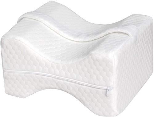 Lawei Kniekissen Ergonomisch für seitenschläfer Memory Foam Beinkissen Orthopädisches Stützkissen mit Verstellbar Gurt für Rückenschmerzen Beinschmerzen Hüftschmerzen, Weiß
