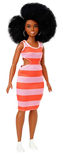 Barbie FXL45 - Fashionistas Puppe im gestreiften Kleid mit braunen Haaren und Afro Frisur, Puppen Spielzeug ab 3 Jahren