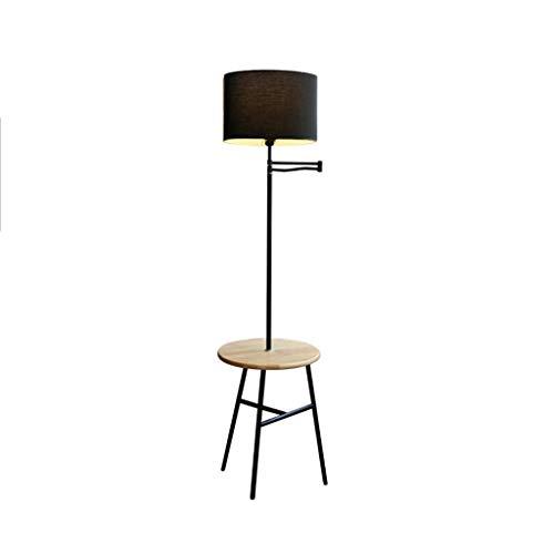QTDH draaibare vloerlamp voor in de woonkamer, staande salontafel, met hoge paal en led-leeslamp, voor slaapkamer, kantoor, werk