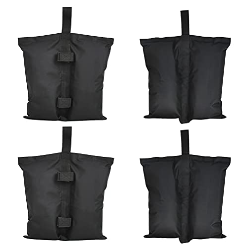 4 Stück Sand-Gewichtssäcke für Pavillon, Sandsack Gewicht Faltpavillon industrielle Qualität, Robust Doppelt Genäht Wasserdicht für Partyzelt Terrassenschirme (schwarz)