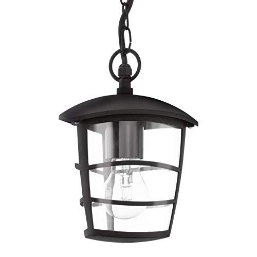 EGLO Außen-Hängelampe Aloria, 1 flammige Außenleuchte, Pendelleuchte aus Aluguss und Kunststoff, Farbe: Schwarz, Fassung: E27, IP44
