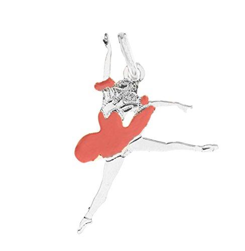 Collana con ciondolo Ballerina in Argento 925 Danza Classica (Salto Smalto Rosa - Solo Ciondolo)