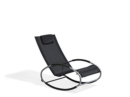 Beliani Moderner Schaukelstuhl Textilenne/Metall schwarz Campo