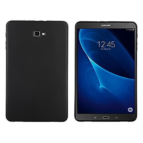 OKCS Funda compatible con Samsung Galaxy Tab A 10.1 (2016), carcasa trasera para tablet, funda de silicona [Tab A6 T580/T858/T585], color negro