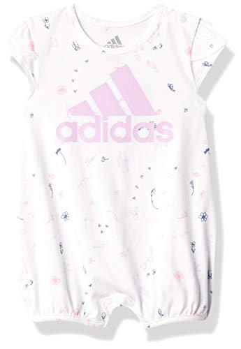 adidas baby girls Shortie Prnt Rompers, White, 18-24 Months US
