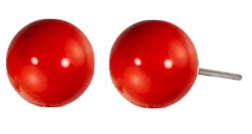 Traveller® - Pendientes con perla de Swarovski® - Perla Ø aprox. 10 mm (rojo coral)